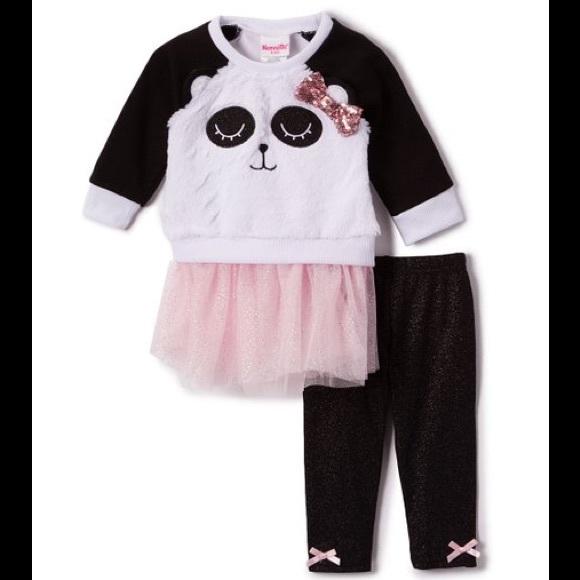 Nannette White Panda Pink Tutu Sweatshirt Leggings
